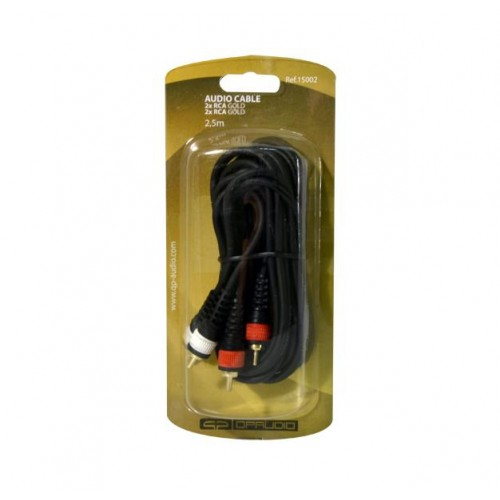 CABLE 2 x RCA MACHO GOLD A 2 x RCA MACHO 0,5m QP AUDIO
