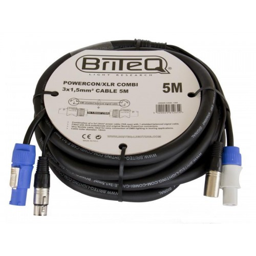 CABLE COMBI POWERCON / XLR 3X1,5mm 5M BRITEQ